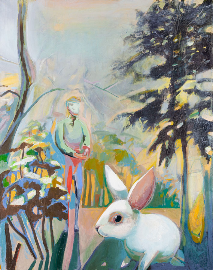 Bunny | Desolate Landscape | Yellow Sky | Oil Painting