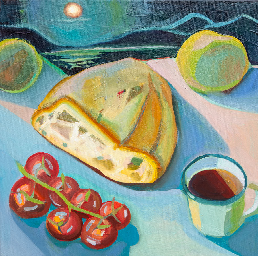 Bread | Moon | Still Life | Tomatoes | Painting