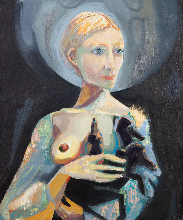Breast | Nurture | Three-Headed-Puppy | Oil Painting
