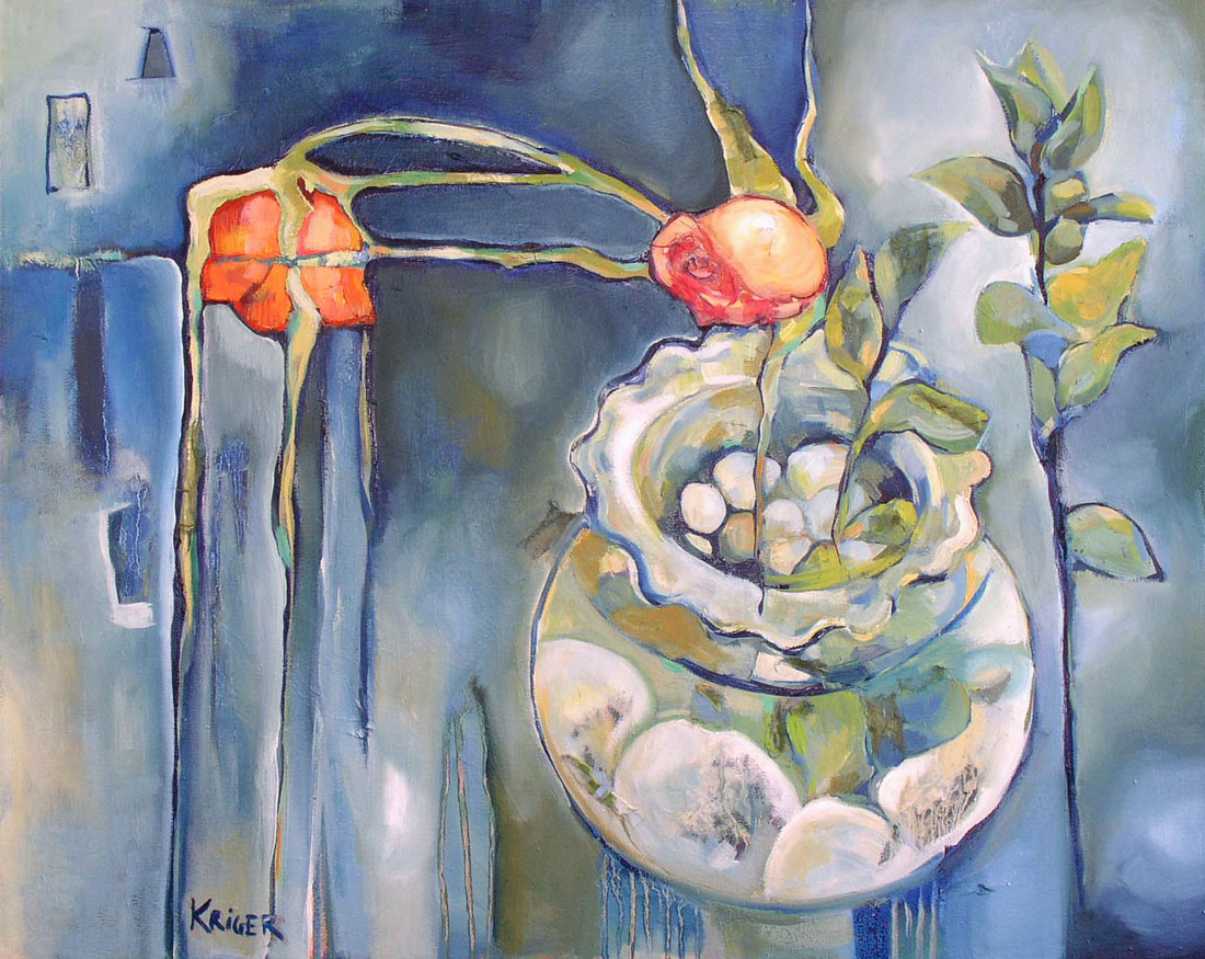 Flowers | Glass | Bowl | Oil Painting | Oil Painting