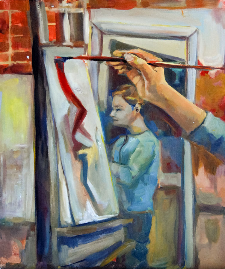 Hand | Brush | Mirror | Oil Painting