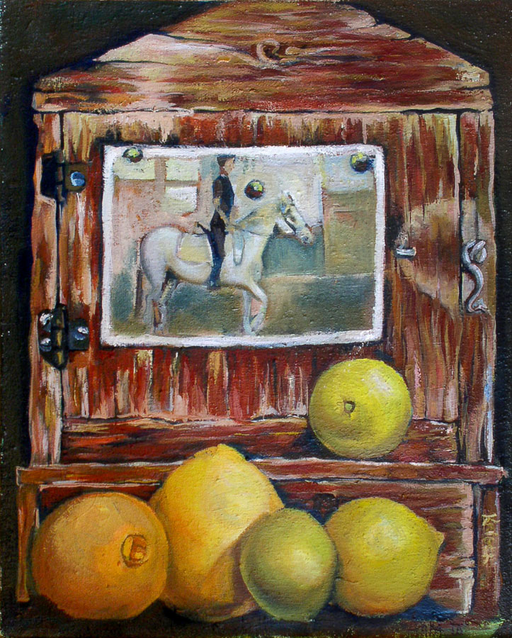Horse Rider | Still Life | Wood | Lemons | Oil Painting