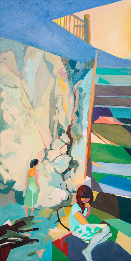 Mexico | Stairs | Women | Oil Painting