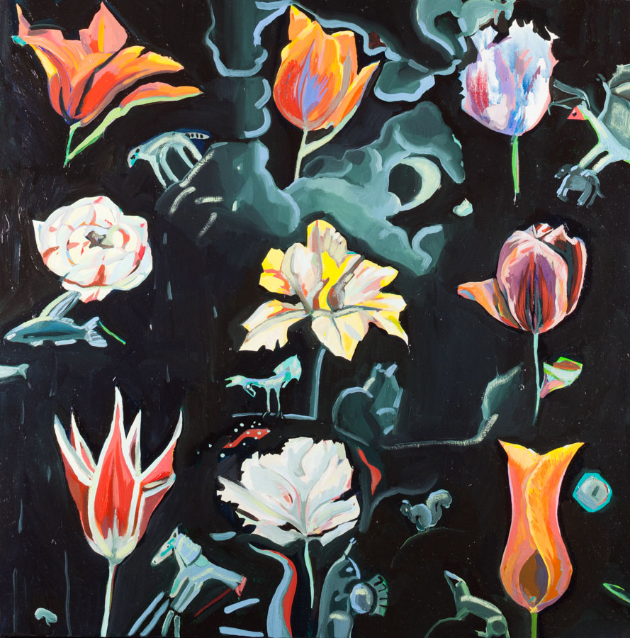 Night | Dream | Tulips | Squirrels | Oil Painting