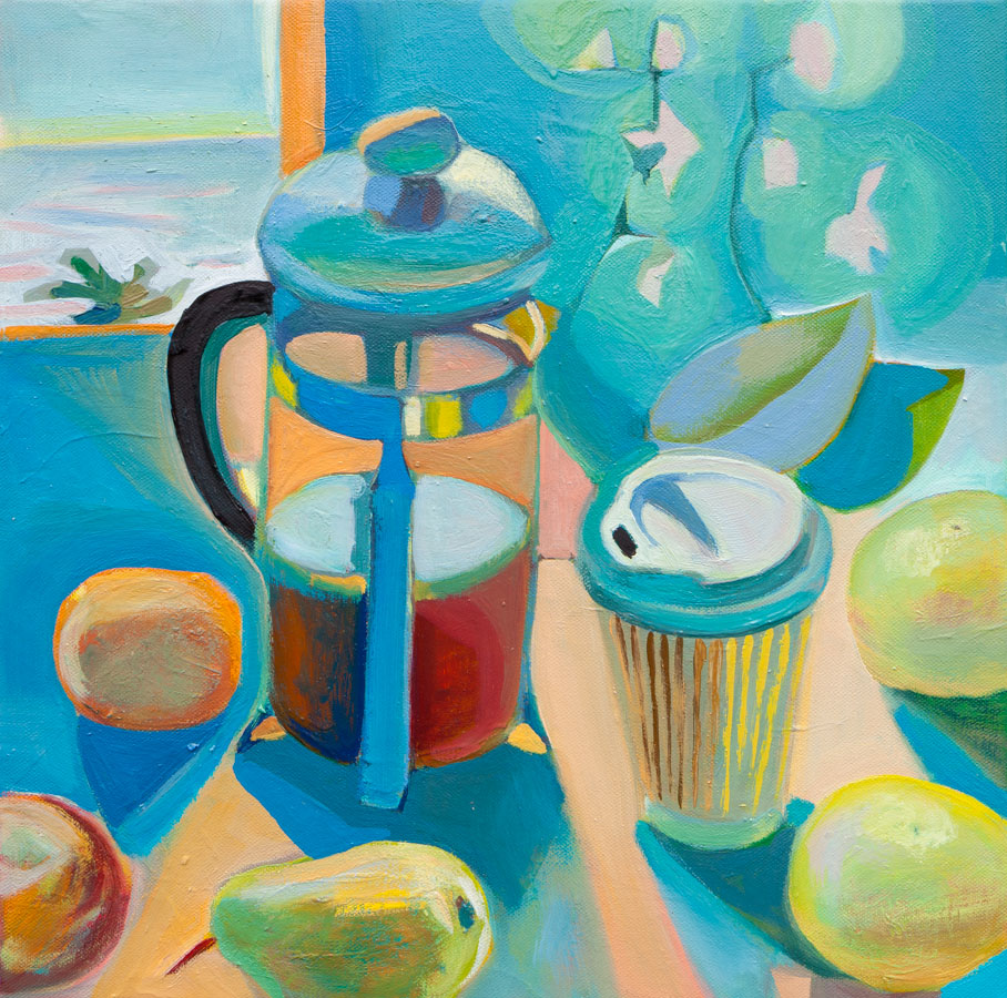 Ocean View | Coffee |  Grapefruits | Orchid | Oil Painting