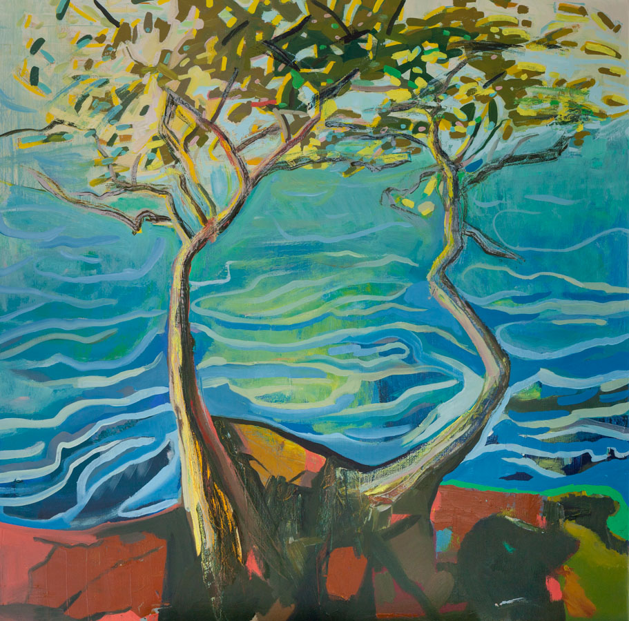 Anna Kriger Fine Art | Olive tree | Ocean | Greece | Oil Painting