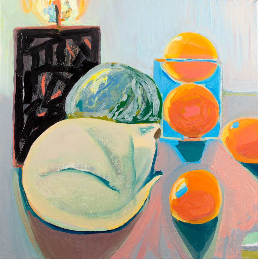 Still Life | Grapefruits | Candle | Cat | Sleeping | Oil Painting