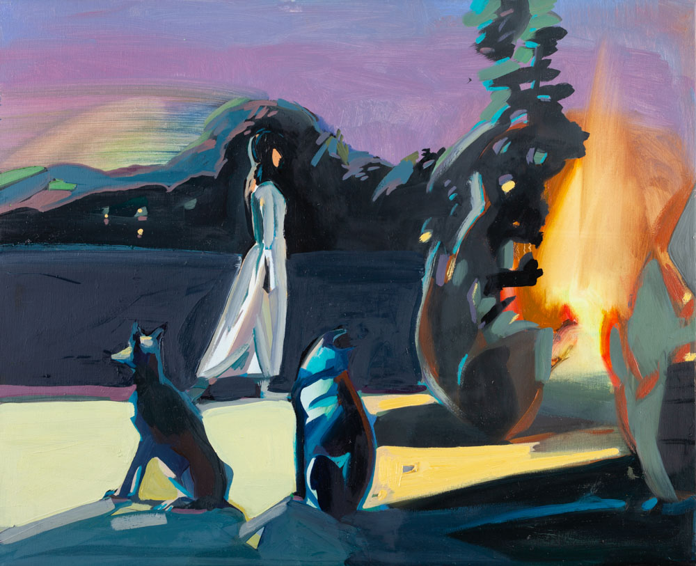 Sunrise | Sunset | Fire | Guard Dogs | Oil Painting