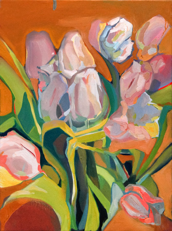 Tulips | Pink | Orange | Flowers | Oil Painting