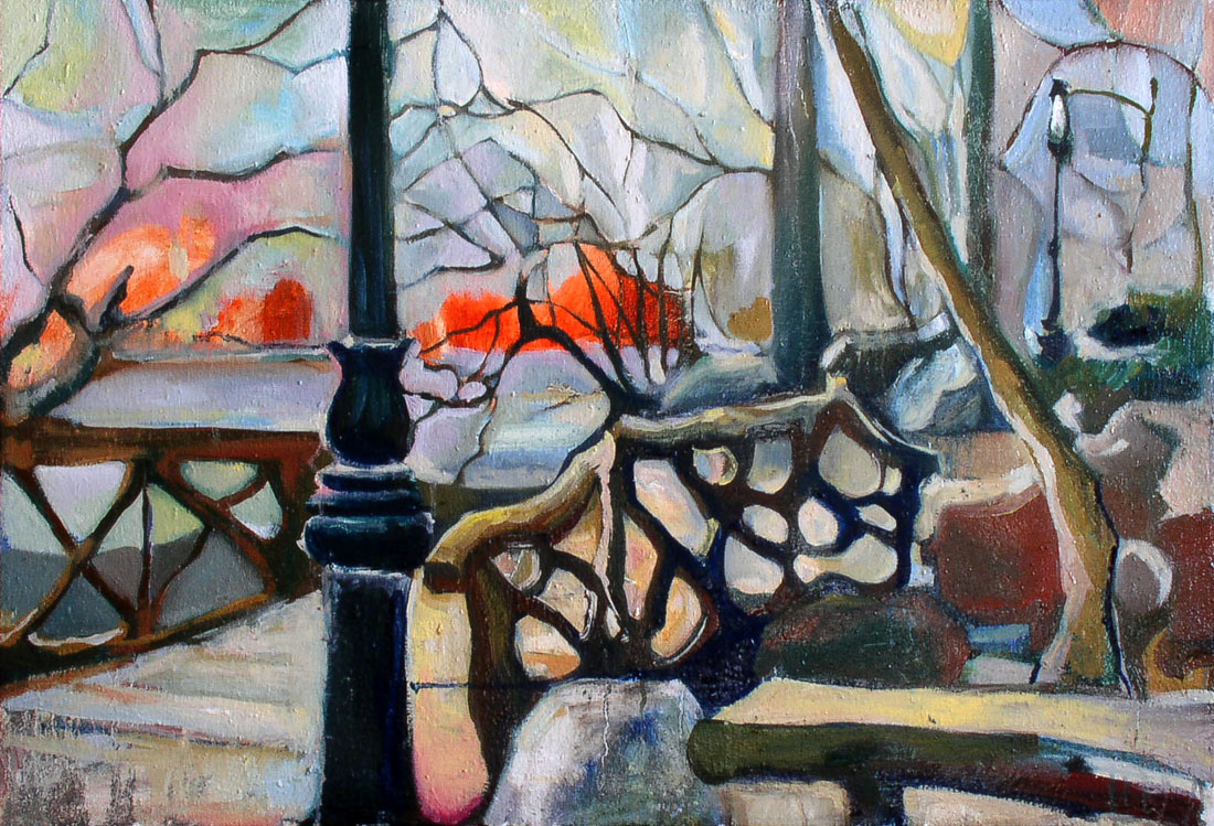 Winter | Park Design | Sunset | Oil Painting